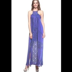 Crocheted Front Maxi Halter Dress in Blue Small